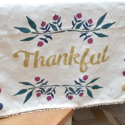 Stenciled Thanksgiving Table Runner