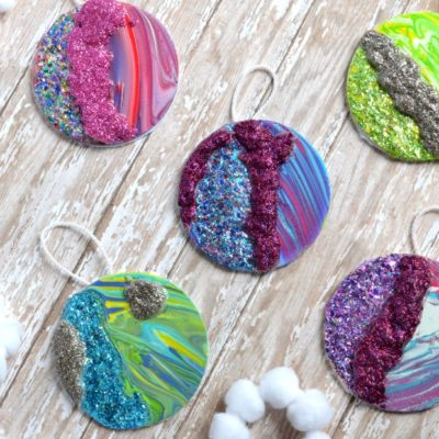 Faux Geode Marbled Christmas Ornaments