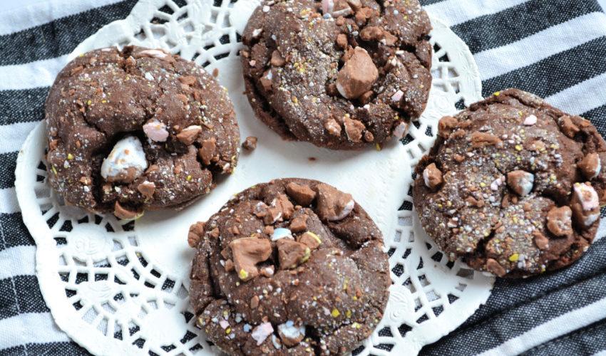 Chewy Chocolate Cadbury Egg Cookies