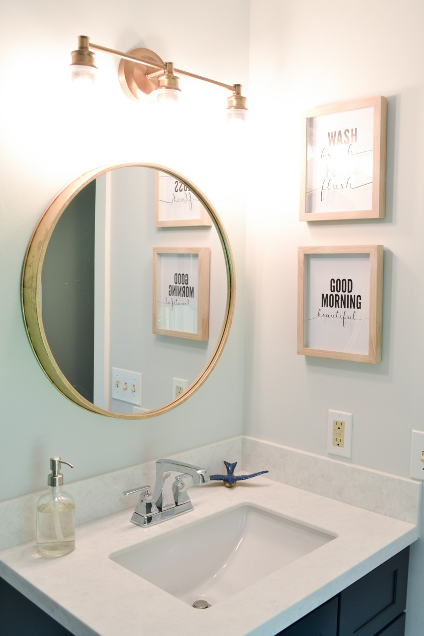 Navy Blue And White Master Bathroom Makeover The Cards We Drew