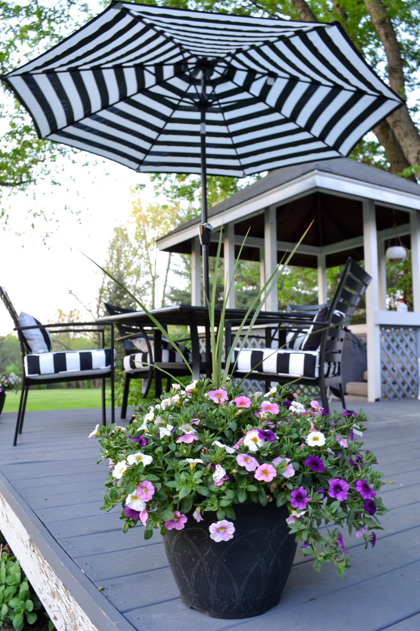 black and white patio umbrella
