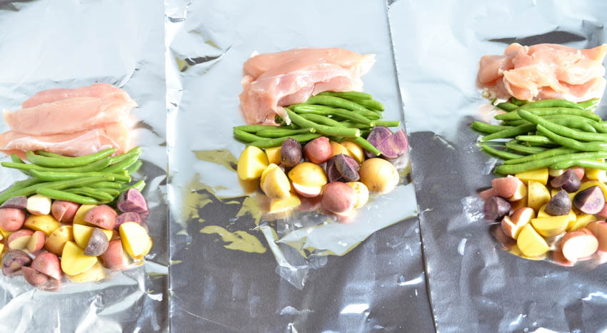 chicken and potato foil packets