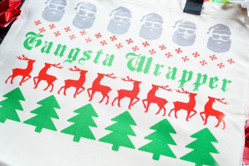 gangsta wrapper holiday gift bag