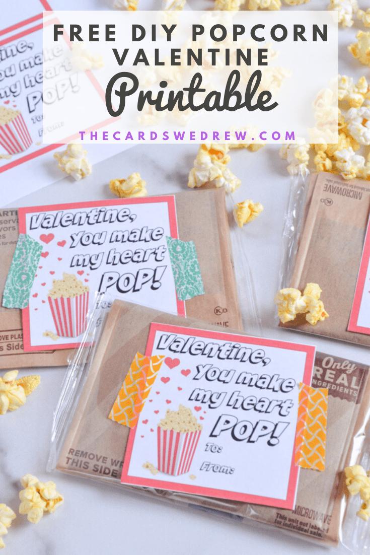 Free DIY Popcorn Valentine Printable