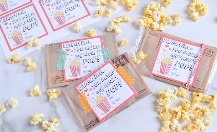 Free Popcorn Valentine with Printable
