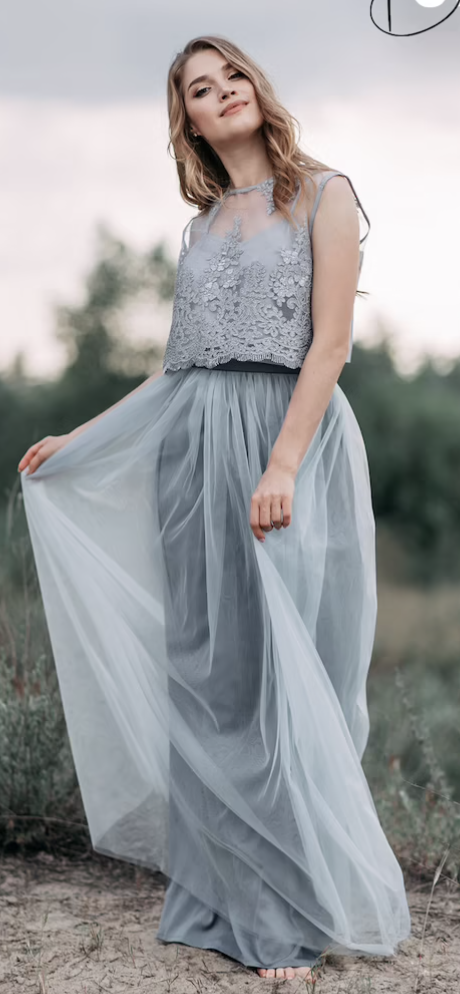 High neck boho bridesmaid dress