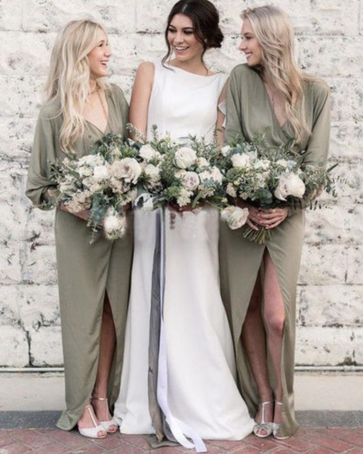 Long sleeve boho bridesmaid dress