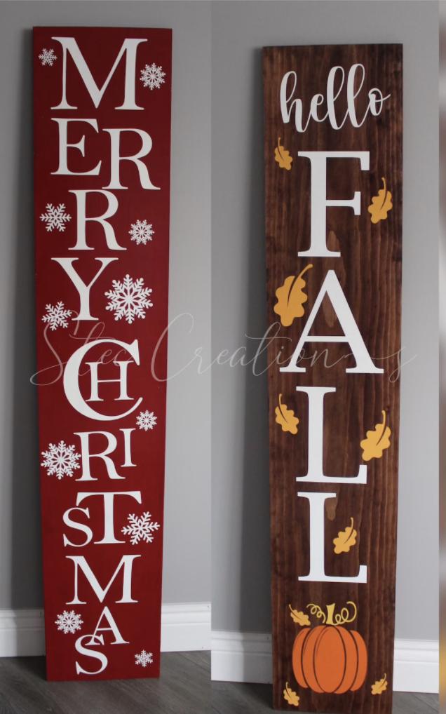 Reversible fall/christmas sign