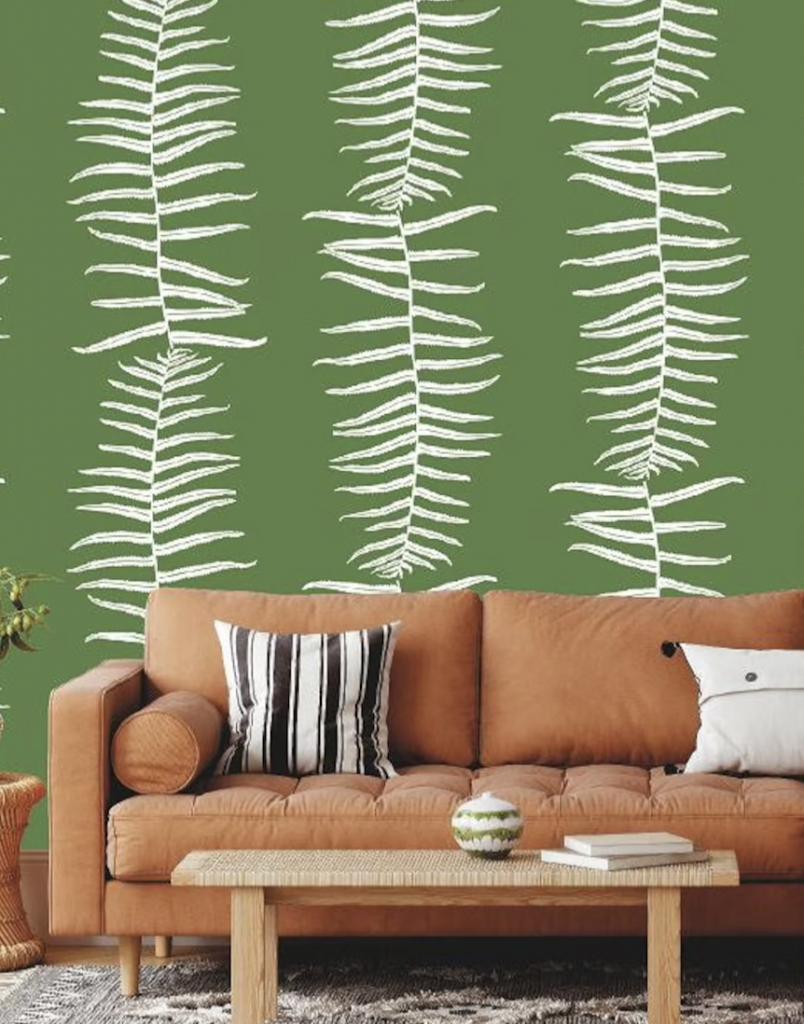 Boho living room wallpaper