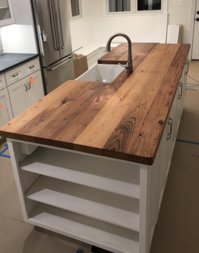 reclaimed wood butcher block countertop