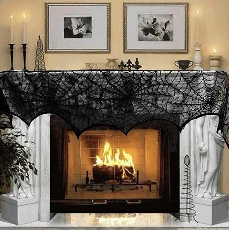 cobweb fireplace mantel decor