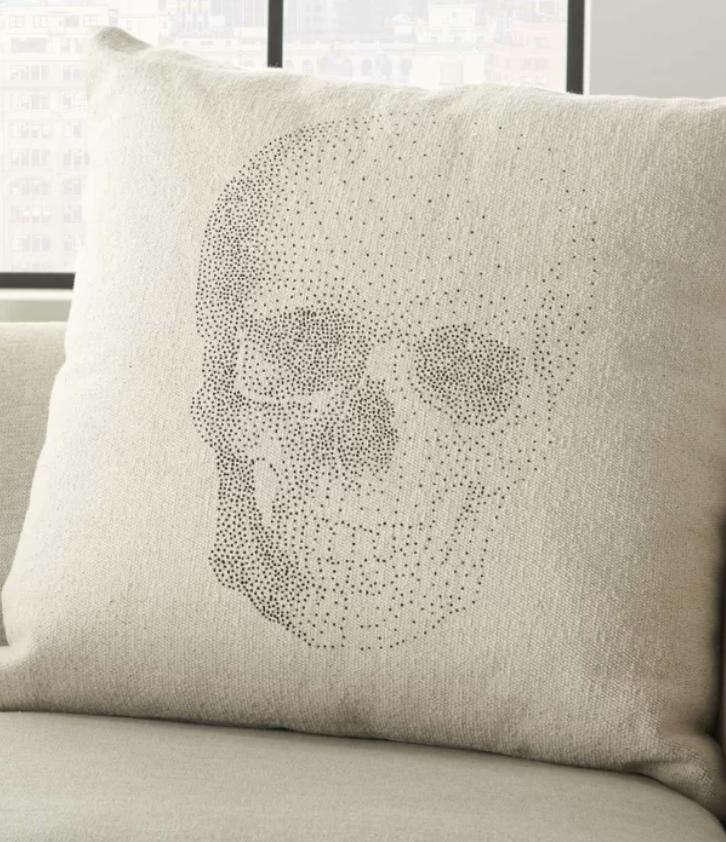 skull cotton throw pillow