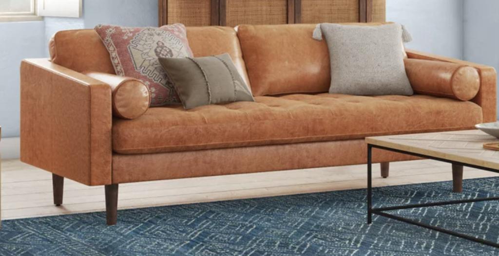 genuine leather square arm sofa