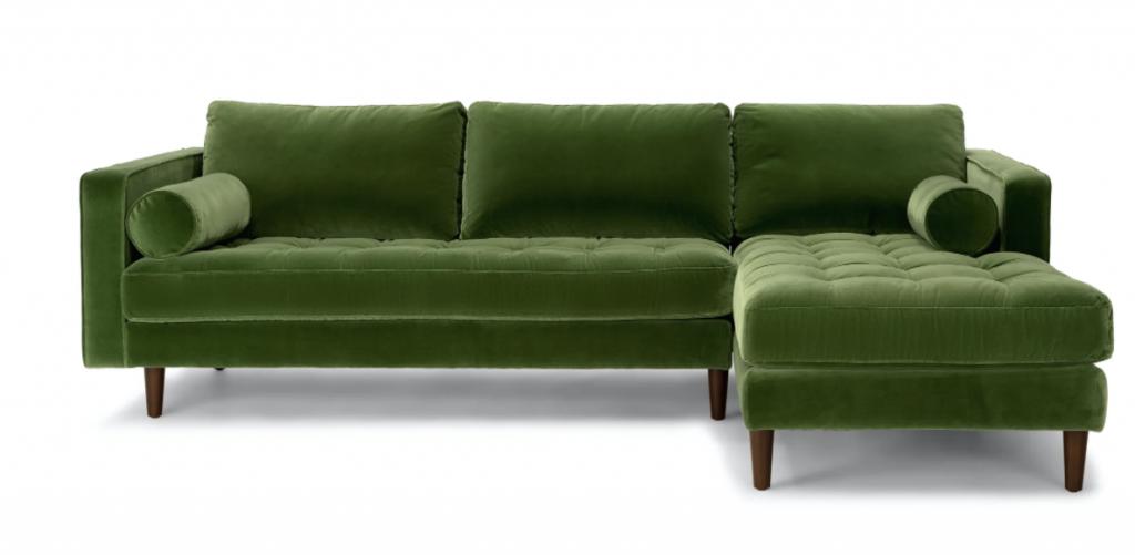 emerald green sectional sofa