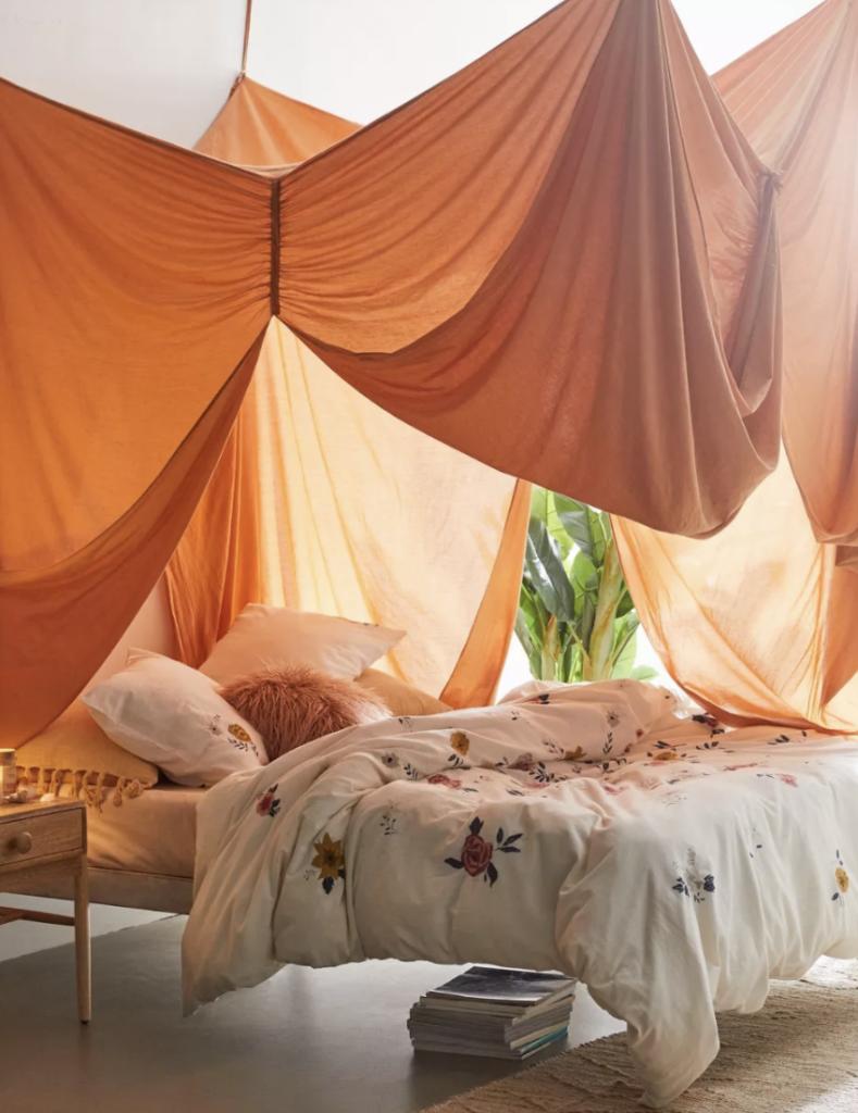 orange canopy bed